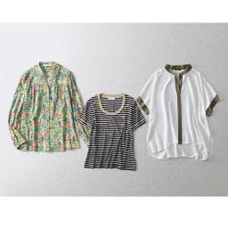 ANNA PARRINI/アンナ パリーニ パール付Tシャツ(イタリア製) インポートアイテムの技ありデザインで格上げ コーディネート例