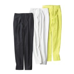 多機能素材9分丈腰高パンツ 左から(ウ)ブラック (ア)オフホワイト (イ)ライムイエロー