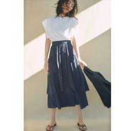 吸水速乾&UVカット 変形ティアードスカート コーディネート例