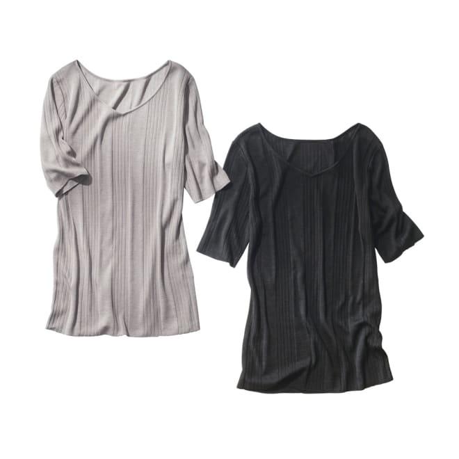 UVカット スパンシルク リブニットシリーズ 五分袖プルオーバー 左から(ア)グレージュ (イ)ブラック