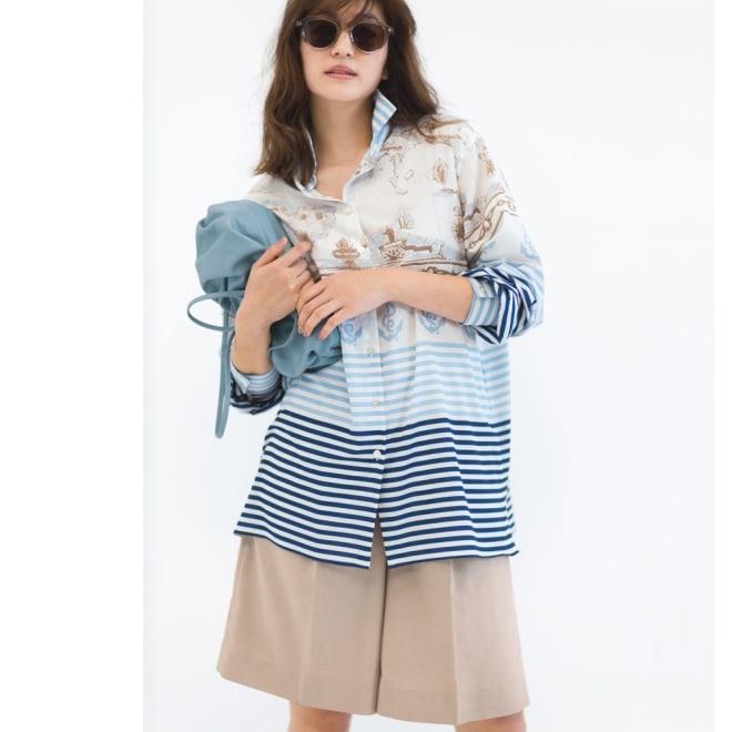 Molly Bracken/モーリーブラッケン スカーフ柄シャツ 清涼カラーに合わせた大人のハーフパンツが新鮮 コーディネート例