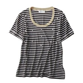 ANNA PARRINI/アンナ パリーニ パール付Tシャツ(イタリア製) 写真