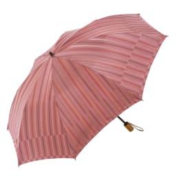 GRACITO/グラシト 晴雨兼用 ストライプ折りたたみ傘(日本製) (イ)ピンク系