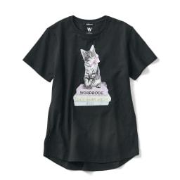 WORDROBE/ワードローブ キャット柄 Tシャツ(ラインストーン付き) (イ)ブラック