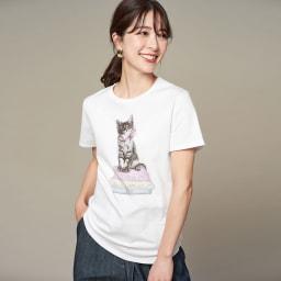 WORDROBE/ワードローブ キャット柄 Tシャツ(ラインストーン付き) (ア)ホワイト コーディネート例