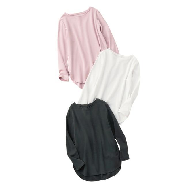 デオファクター(R) ふわもち綿スムース ロングTシャツ 上から (イ)ライトピンク (ア)オフホワイト (ウ)ブラック