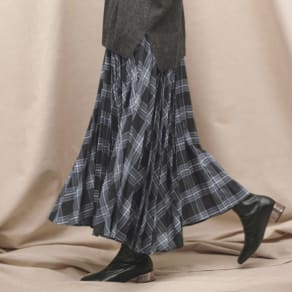 先染めチェック柄 ロング プリーツスカート 写真