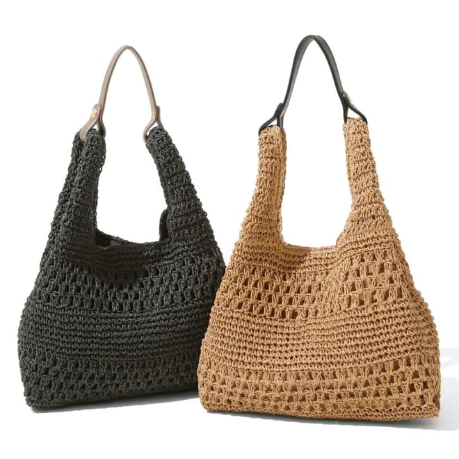 透かし編み ペーパー2ウェイバッグ 左から(ア)ブラック (イ)キャメル