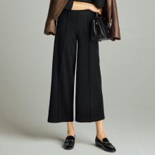 【股下丈59cm】 微起毛素材 ワイド クロップドパンツ