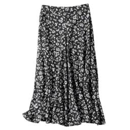 ナローフレアスカート (ア)ブラック花柄