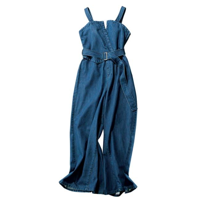 gram blue/グラムブルー 軽量デニム ベルト付きサロペット