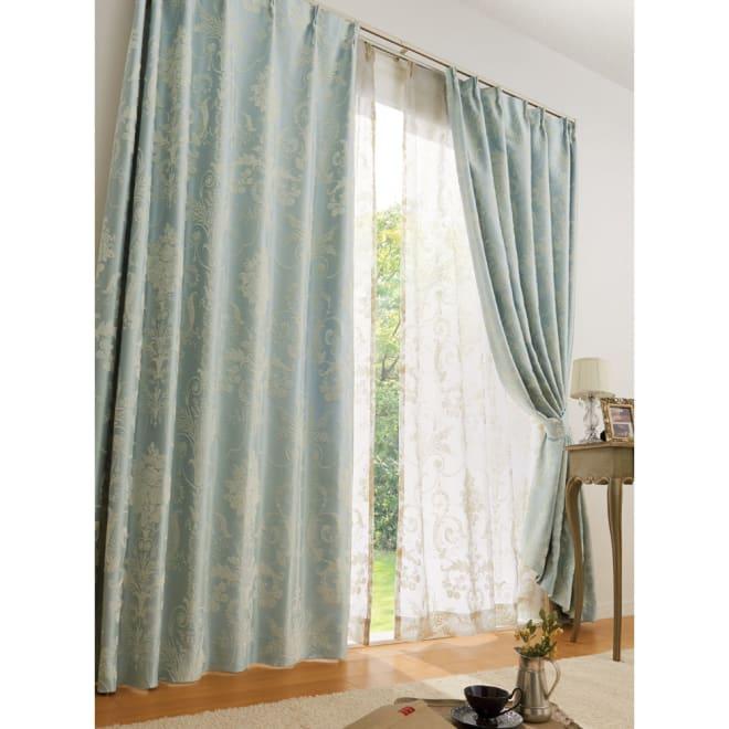オーナメントカーテン 幅150cm(2枚組) (イ)ブルーグリーン