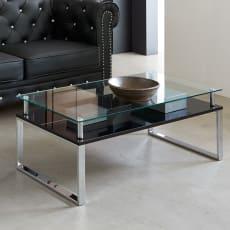 ガラストップ センターテーブル 幅105cm