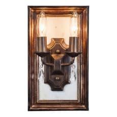 壁掛けもできるLED照明 アンティーク調 フレーム付ランプ 2灯