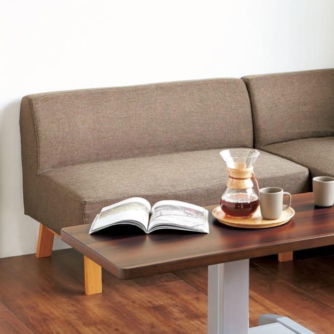 カバーが洗えるソファダイニング ソファ 2人掛け コーディネート例(ウ)ナチュラル&ブラウン ※お届けはソファ2人掛けです。