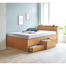 棚・引き出し収納付きすのこベッド(西川ポケットコイルマットレス付き) レギュラー(長さ205cm)