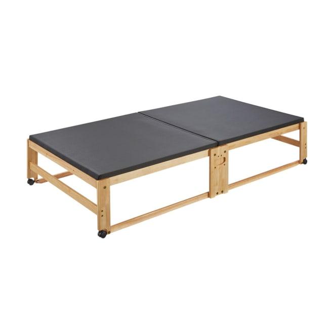 和モダン黒畳折りたたみベッド ハイタイプ(高さ40cm)
