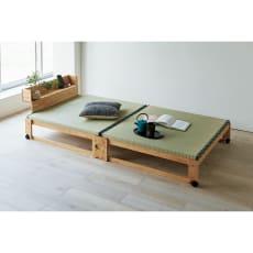畳空間を簡単に演出できる折りたたみベッド(棚付き)