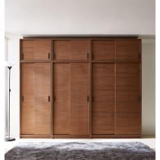 ウォルナット天然木引き戸本棚 幅75.5高さ180cm