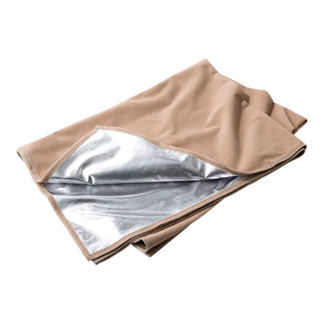 あったか防災アルミ蒸着フリース毛布 片面はフリース、片面はアルミ。