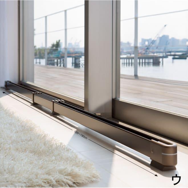 結露と冷気を抑制!「窓際ヒーター」 幅120~190cm伸縮式 (ウ)ブロンズはフローリングともなじみやすいカラー。ディノスだけで買える限定色です。