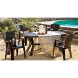 イタリア製テーブル&ラタン調チェア 5点セット 写真
