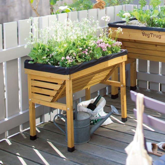 木製菜園プランター ベジトラグ バルコニーサイズ (ア)ナチュラル