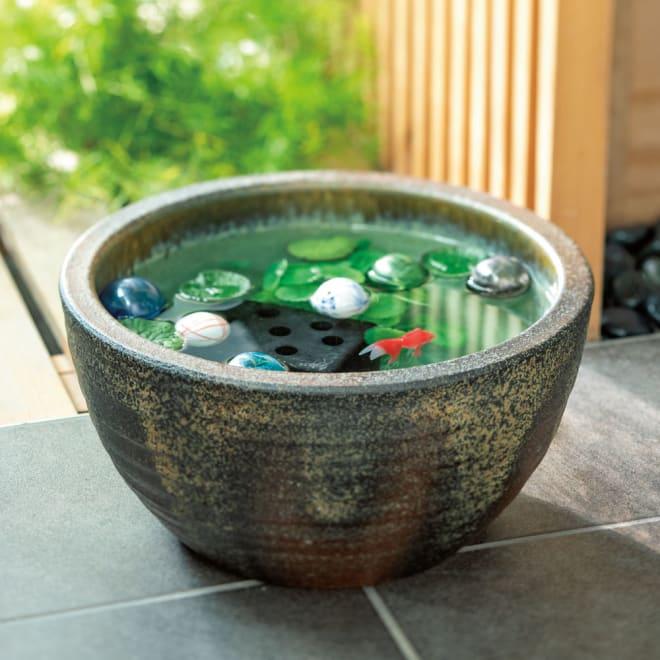 信楽焼 水鉢セット 10号