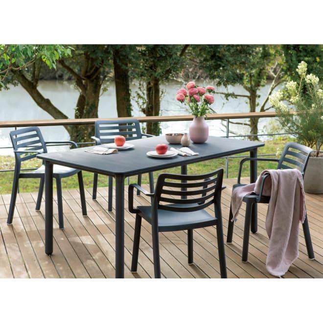 スペイン製Resol テーブル&チェア 長方形 5点セット (ア)ダークグレー 長方形5点セット