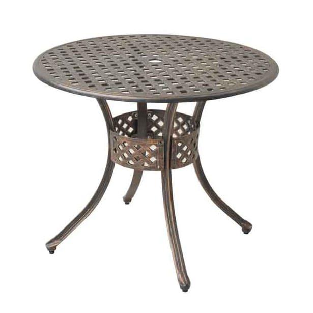 アンティーク調 ガーデンファニチャー ラウンドテーブル 脚部のすらりとしたアール加工がエレガントな印象。