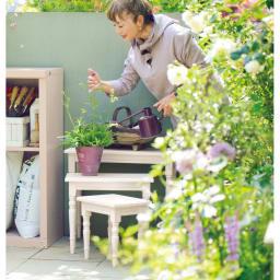 アンティーク風ネストテーブル3点セット (イ)ホワイトウォッシュ 新色 KEIKO YOSHIYA 英国園芸研究家、ガーデン&プロダクトデザイナー。7年間の英国暮らしの経験を生かしたガーデンライフを提案している。