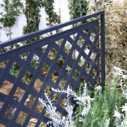 欧風トレリス付きプランターボックス〈ダークグレー〉 高さ161cm つる性の植物も絡みやすいラティスデザイン。