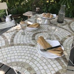 モザイク調折りたたみテーブル テーブル単品