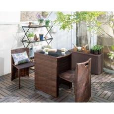 ラタン調コンパクトシリーズ〈ブラウン〉 お得セット大 テーブル&チェア3点セット+薄型ベンチ幅90