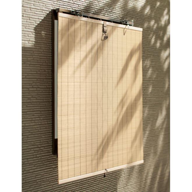 幅・丈サイズオーダー 天然素材調のモダンすだれ 幅51~180丈51~240cm(幅・丈1cm単位オーダー) (イ)ホワイトナチュラル。洋風の家にもマッチする使用しやすいホワイトナチュラル。