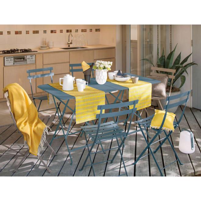 フランス製ビストロスクエアテーブル (イ)ストームグレー ※お届けはスクエアテーブルです。