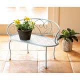 アンティーク調ベンチ型花台 写真