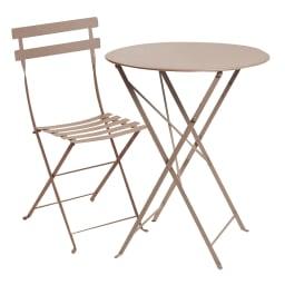 フランス製ビストロテーブル&チェア ビストロ3点セット(ビストロテーブル+ビストロチェア2脚組) (ア)ナツメグ