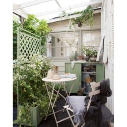 欧風収納庫〈セージグリーン〉 高さ95cm 同色でコーディネートするとまとまりがでてぐんとセンスアップ!