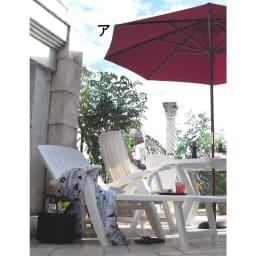 ウッド支柱パラソル パラソル径210cm 使用イメージ (※お届けはパラソルのみです。写真は径270cmタイプです。)
