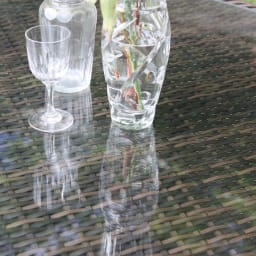 ガラス&ウィッカーシリーズ ラウンド 5点セット(ラウンド大テーブル+チェア4脚)