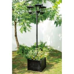 プランター付きソーラーライト 2灯 お花たっぷりの寄せ植えも絵になります。