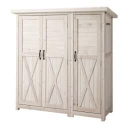 3つ扉シンプル木製収納庫 (ア)ホワイトウォッシュ