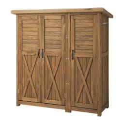 3つ扉シンプル木製収納庫 (イ)ブラウン