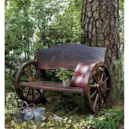 車輪デザインベンチ 幅110cm (ア)ダークブラウン