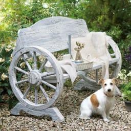 車輪デザインベンチ 幅110cm (イ)ホワイトウォッシュ