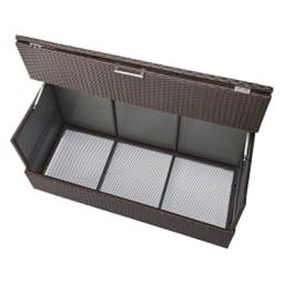 組立不要 ラタン調ゴミ保管庫 幅100cm ペール3個付き 内部様子。