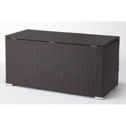 組立不要 ラタン調ゴミ保管庫 幅130cm 背面も美しい仕上げ。