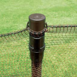 全長20m!お手軽フェンス&ゲート ゲート付フェンス ネット上部は支柱に、下部は地面に金具でしっかり固定。