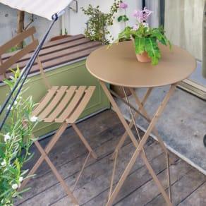 フランス製ビストロテーブル&チェア ビストロ3点セット(ビストロテーブル+ビストロチェア2脚組) 写真